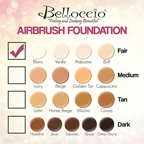 Belloccio's Professional Cosmetic Airbrush Makeup Foundation 1/2oz Bottle: Alabaster