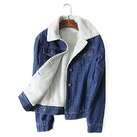 Top Cheer Women's Thicken Lambs Wool Denim Jacket Loose Jean Coat (10) - Denim Coat Jacket