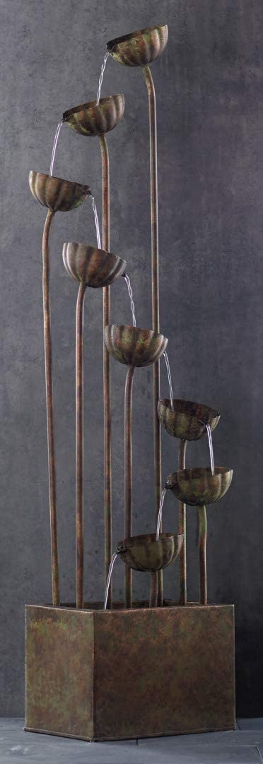 """Melrose 64/"""" Rustic Bronze Colored Indoor//Outdoor Cascading Flower Water Fountain"""