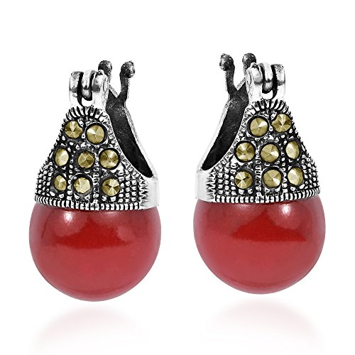 Vintage Marcasite Style Pyrite & Reconstructed Red Coral 12 mm .925 Sterling Silver ()