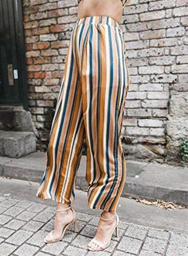 HaiDean Estivi Semplice Pantaloni Gelb Glamorous Pantalone Fashion Larghi Sciolto Larghi Pants Donne Comodo Pantaloni Ragazze Elegante Stripe Pantalone Moda Donna 55qBwafcgr