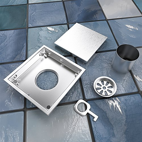 Ushower Drain 6 Inch Bathroom Square Drain Tile Insert Floor Drain, Stainless Steel Shower Strainer with Removable Cover, Brushed Finish by Ushower (Image #4)