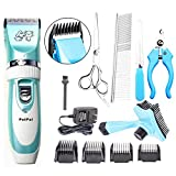 PetPal Low Noise Rechargeable Cordless Pet Dogs and Cats Electric Clippers Full Grooming Trimming Kit Set with Oil (Blue)