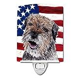 Caroline's Treasures Border Terrier with American Flag Night Light, 6'' x 4'', Multicolor