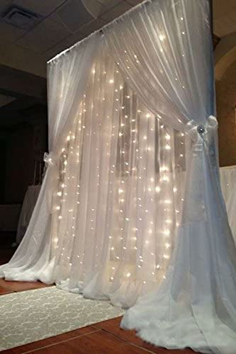 Tableclothsfactory Big Wedding Party Photography Organza Curtain Backdrop with Lights White 20FT x 10FT