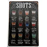 SHOTS (COCKTAIL) MENU TIN METAL PLATE SIGN 20 X 30 CM by Buy