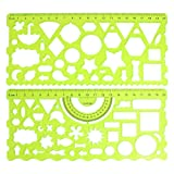 2 Pcs Clear Green Plastic Hollow Students Geometric Template Student Ruler Set