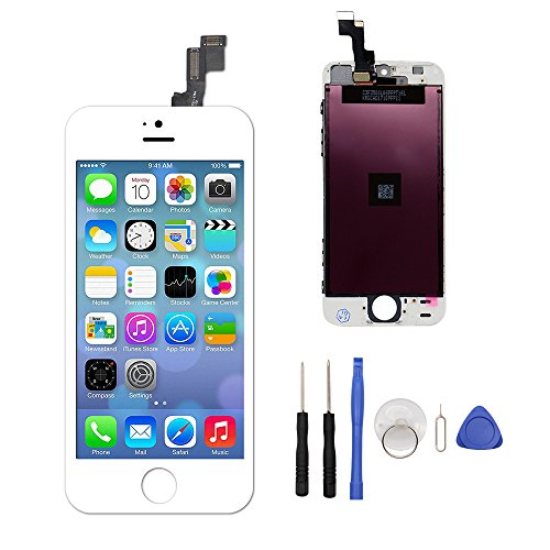 LCD Touch Screen Digitizer Replacement Full Assembly for iPhone 5S With Free Tools Kit (For iPhone 5S White)
