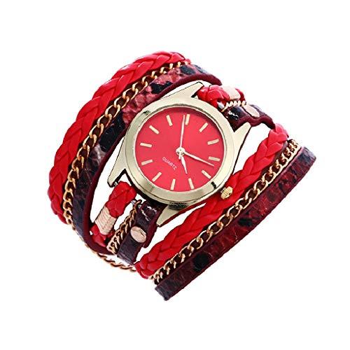 Inkach Bohemian Style Weave Leather Bracelet Lady Womans Wrist Watch Gift