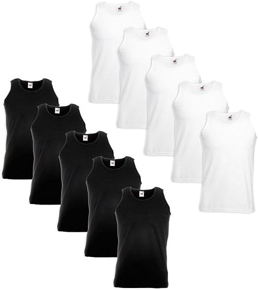 Festnight Pack DE 10,Camisetas sin Mangas Original para Hombre,100% Algodón,5 Blancas+5 Negras,Tallas M: Amazon.es: Hogar