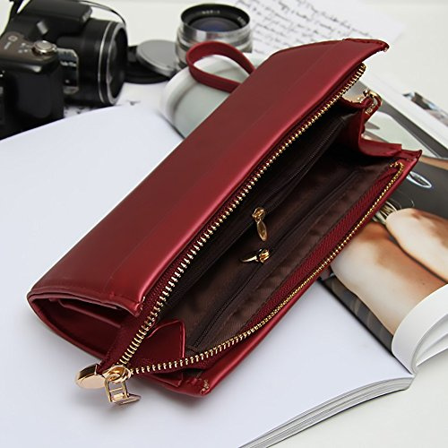 Adjustable Elegant Clutch Leather Bag Classic Bugrundy Ladies Purse with Vegan Handstrap Faux q5x71w8C