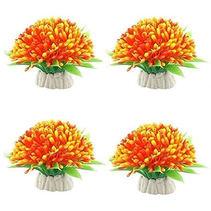 Amazon.com : eDealMax DE 4 piezas de decoración Vegetal acuario de emulación de plástico, Verde/Naranja : Pet Supplies