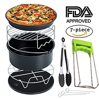 Air Fryer Accessories Deep Fryer Universal, Cake Barrel, Pizza Pan, Silicone Mat, Skewer Rack, Metal holder Fit all 3.7Qt - 5.3Qt - 5.8Qt By RJUN