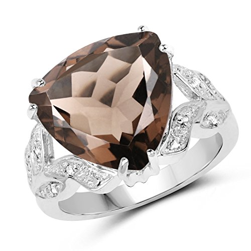 Smoky Topaz .925 Sterling Silver Halo Ring 6.95ctw. from Johareez