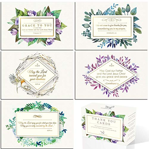Gold foil Christian Thank You Cards with bible verses | 50 assorted 4x6 Inspirational Note Cards | Boxed Bulk ideal for Communion and Wedding | Religious Spiritual Scripture (Renewed)