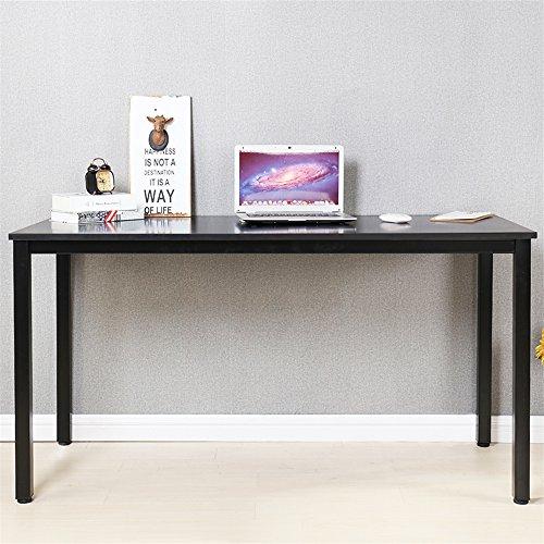 Dland Luxurious Computer Desk 55' Large Size Home Office Decent PC Laptop Desk Studying Writing Table Modern Workstation, Black