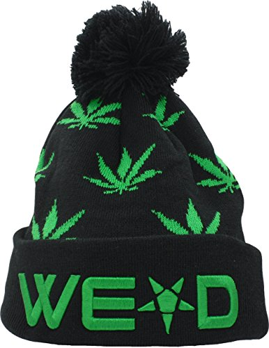 YCMI-Winter-Warm-Mickey-Hands-Letter-Kush-Weed-Marijuana-Beanies-Hat-Skully-08-black-and-green
