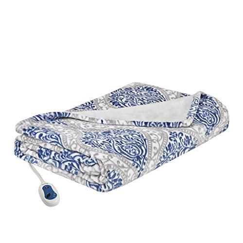 Beautyrest - Plush Heated Throw Blanket -Secure Comfort Technology-Oversized 60'' x 70''- Indigo/Gray - Damask Pattern - Cozy Soft Microlight Heated Electric Blanket Throw - 3-Setting Heat Controller by Beautyrest