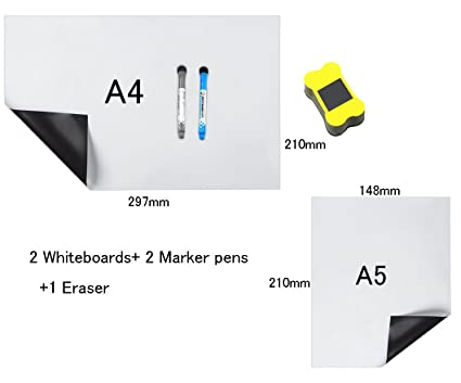 HeyFun - Juego de 2 pizarras Blancas magnéticas A4 y tamaño ...