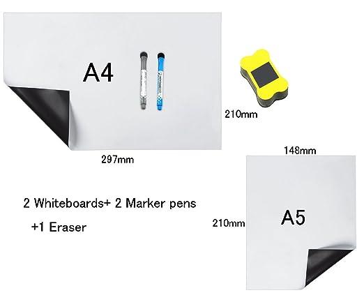 HeyFun - Juego de 2 pizarras Blancas magnéticas A4 y tamaño A5 ...