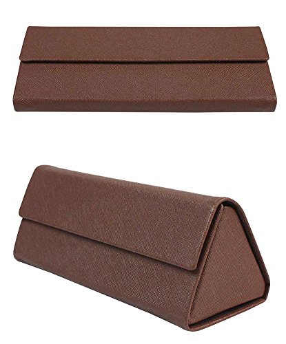 JAVOedge Brown Prism / Triangle Style Foldable Glasses Case with Bonus Micofiber Glasses Cleaning Cloth