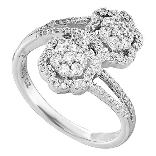Jewels By Lux 14kt White Gold Womens Round Diamond Double Bypass Flower Cluster Ring 1/2 Cttw Ring Size 8.5