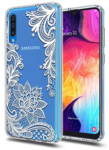 (Huness Galaxy A50 Case TPU Grip Bumper and Clear Flower Transparent Hard PC Backplate Hybrid Slim Phone Case Cover for Samsung Galaxy A50 Phone (Flower))