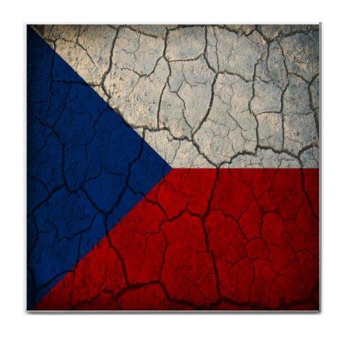 Czech Republic Flag Crackled Design Tile Trivet