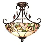 Crystal Leaf 2-light Antique Bronze Semi-flush Mount