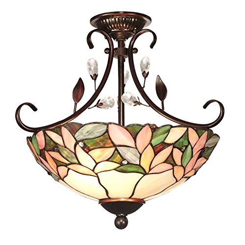 Crystal Leaf 2-light Antique Bronze Semi-flush Mount by Dale Tiffany Lamps