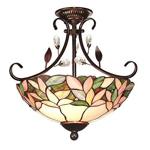 Crystal Leaf 2-light Antique Bronze Semi-flush Mount by Dale Tiffany Lamps
