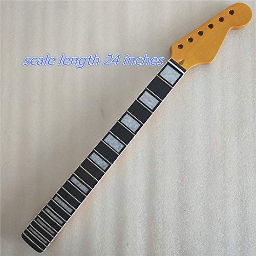 24 inch length Maple 22 Frets guitar neck Replacement rosewood Fingerboard for ST style gloss ()