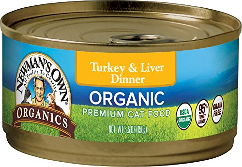 Newman's Own Organics 95% Turkey and Liver Dinner Grain-Free Food for Cats, 5.5-Ounce (Pack of 24) (Organic Liver)