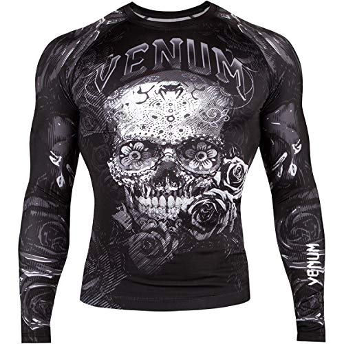 Venum Men's Santa Muerte 3.0 Long Sleeve Rash Guard MMA BJJ Black/White Large
