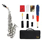 Andoer LADE Brass Golden Carve Pattern Bb Bend Althorn Soprano Saxophone Sax Pearl White Shell Buttons Wind Instrument with Case Gloves Cleaning Cloth Grease Belt Brush