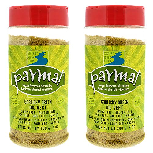Parma! Vegan Parmesan Garlicky Green, Dairy-Free, Soy-Free and Gluten-Free Vegan Cheese, Plant-Based Superfood, Kosher (7 oz) | 2-Pack