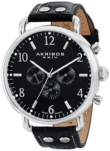 Akribos XXIV Men's AK752SSB Ultimate Watch with Black Leather Band