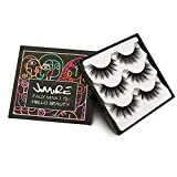 JIMIRE False Eyelashes 3D Lashes Pack Fluffy Long Lashes Reusable Eyelashes 3 Pairs