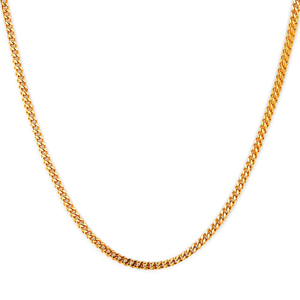 JINGRAYS 3mm Stainless Steel Curb Chain Necklace for Men Biker Punk Style Male Chain Link, 20 inches -Gold