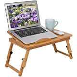 100% Large Bamboo Adjustable Foldable Laptop Desk  Breakfast Serving Tray  For Bed With Drawer  By ISINO