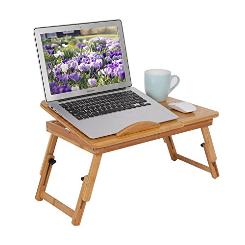 Large Bamboo Serving Tray - 100% Large Bamboo Adjustable Foldable Laptop Desk  Breakfast Serving Tray  For Bed With Drawer  By ISINO