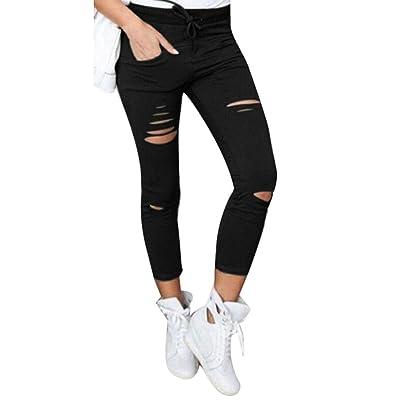 Adelina Pantalones Vaqueros Flacos De Las Mujeres Pantalones Rotos Ropa Cintura Alta Cordón Elástico Pantalones De Lápiz De Algodón Delgados Pantalones Recortados (Color : Schwarz, Size : M): Ropa y accesorios