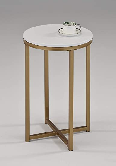 White and Gold Finish Round Side End Accent Table 24″ H