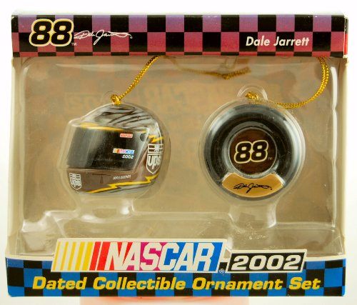 (Action - Trevco - NASCAR - Dale Jarrett #88 - 2002 Dated Christmas Ornament Set - UPS Racing Helmet & Racing Tire - Collectible - RARE - Out of Production - Limited Edition)