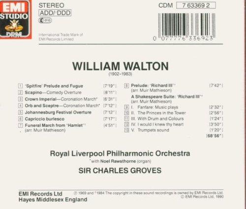 William Walton: 'Spitfire' Prelude & Fugue/Crown Imperial Coronation March/Orb & Sceptre Coronation March/A Shakespeare Suite - Richard III/Scapino Comedy Overture/Capriccio Burlesco by EMI