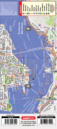 StreetSmart Hong Map by VanDam-Laminated pocket sized, city street map to Hong Kong, Kowloon & New Territories w/ attractions, sights, hotels & beaches. Bilingual Cantonese & English, 2012 Edition