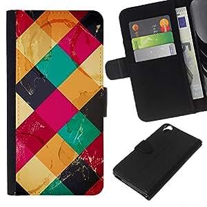 Leather Etui en cuir || HTC Desire 820 || Patrón acolchado Polígono Rosa Amarillo @XPTECH