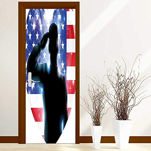 L-QN Door Sticker Wall Murals Decals July Decor Funny French Bulldog with Sunglasses in American Costume Hiding Graphic Art for Home Bedroom Decor W17.1 x H78.7 inch ()