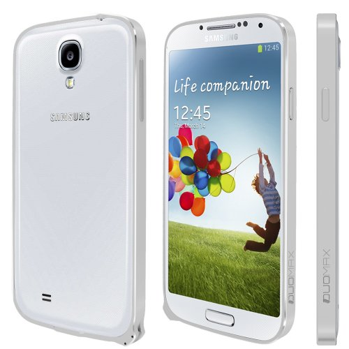 Spots8® for Samsung Galaxy S4 S IV I9500 Ultra Slim 0.7mm Luxury Design Aluminium Metal Hard Bumper Frame Blade Case Cover With Snap-to-Lock Design - Silver