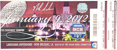 Nick Saban Alabama Crimson Tide Autographed 2012 BCS National Championship Game Mega Ticket - Fanatics Authentic - National Championship Tickets Game